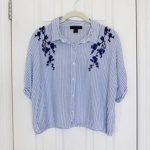Blue striped embroidered button down top